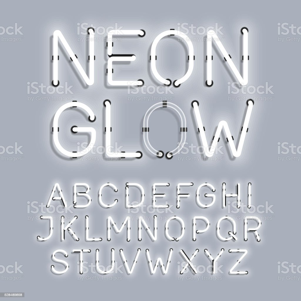 White Neon Glow alphabet vector art illustration