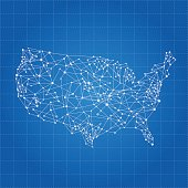 USA white network map on blue grid background