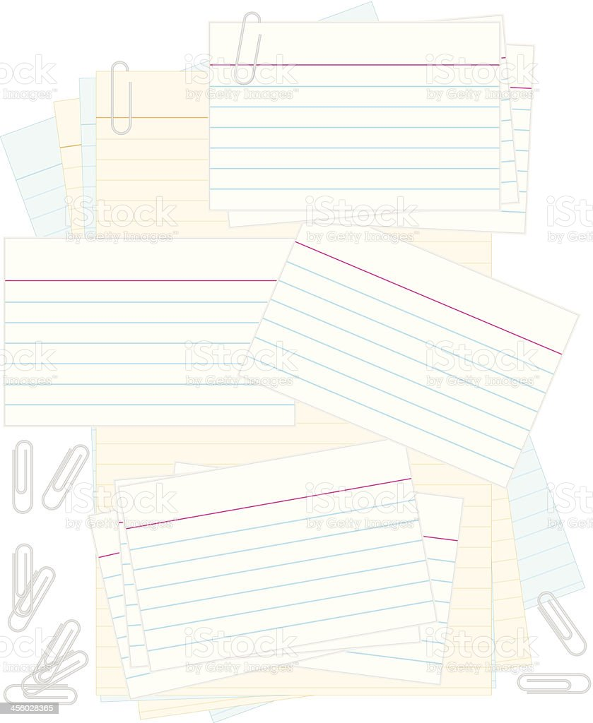 White Note or Recipe Cards, Paper Clips: Colored Notepad Background vector art illustration