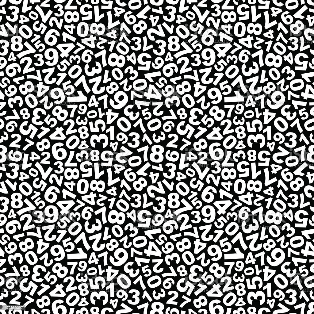 White numbers in a seamless pattern over a black background vector art illustration