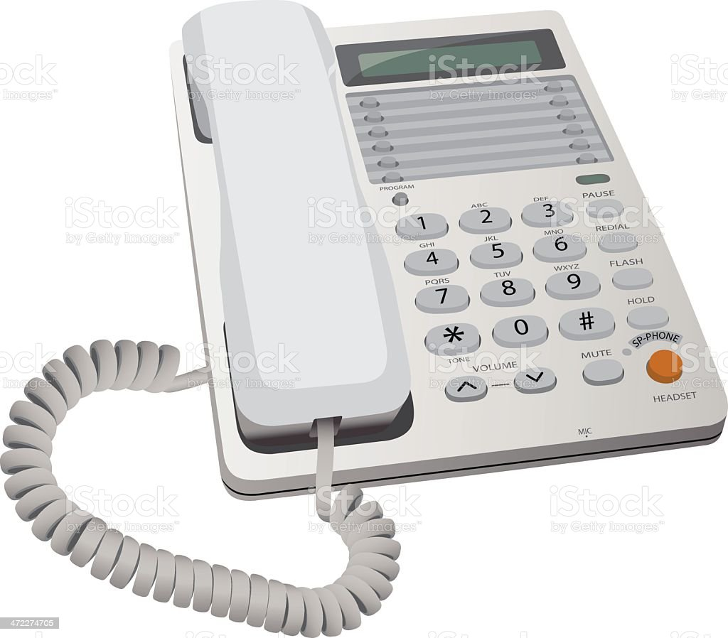 White office style desk phone with an orange button vector art illustration