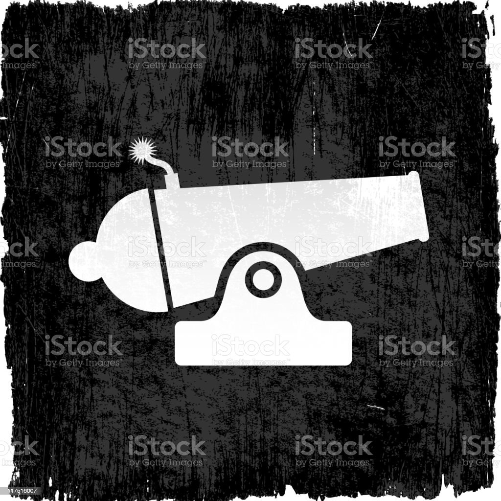 white old cannon on a grungy background vector art illustration