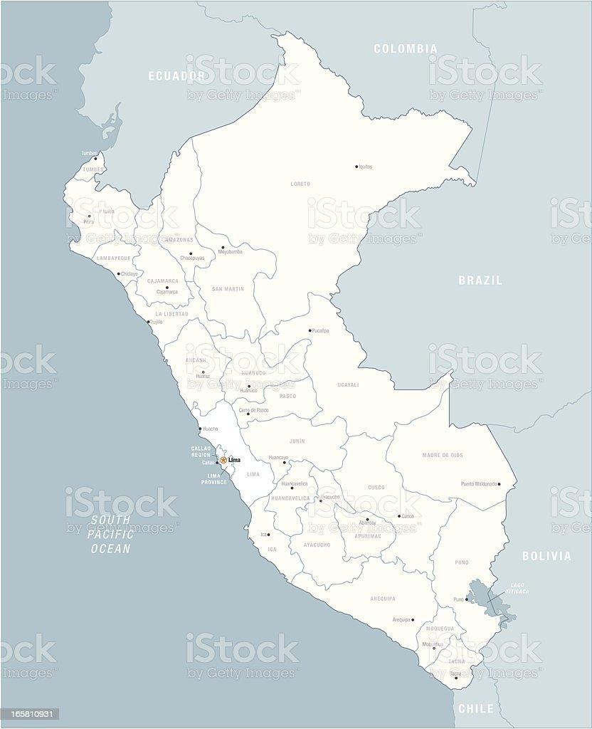 White on blue vector illustration of Peru map vector art illustration