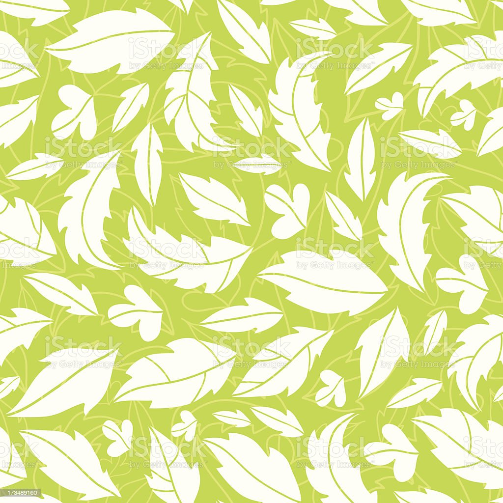 White on green leaves silhouettes seamless pattern background royalty-free stock vector art