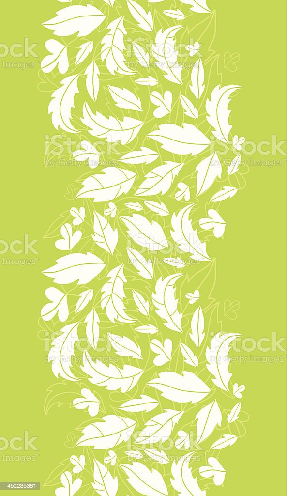 White on green leaves silhouettes vertical seamless pattern background royalty-free stock vector art