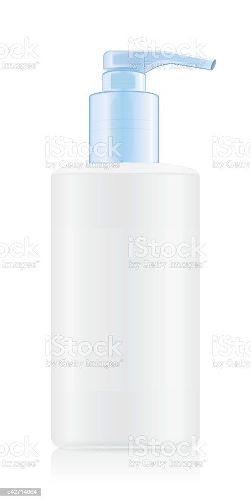 White opaque bottles with blue airless pump. vector art illustration