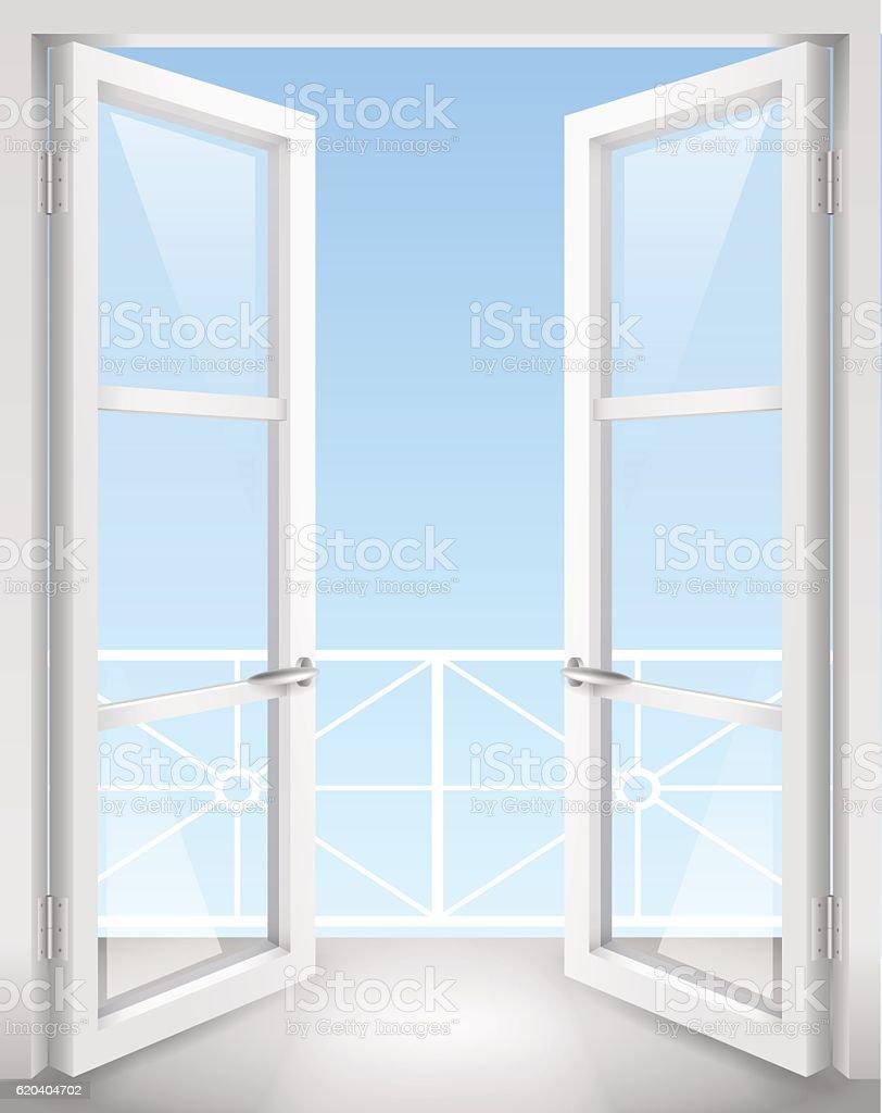 White open doors vector art illustration