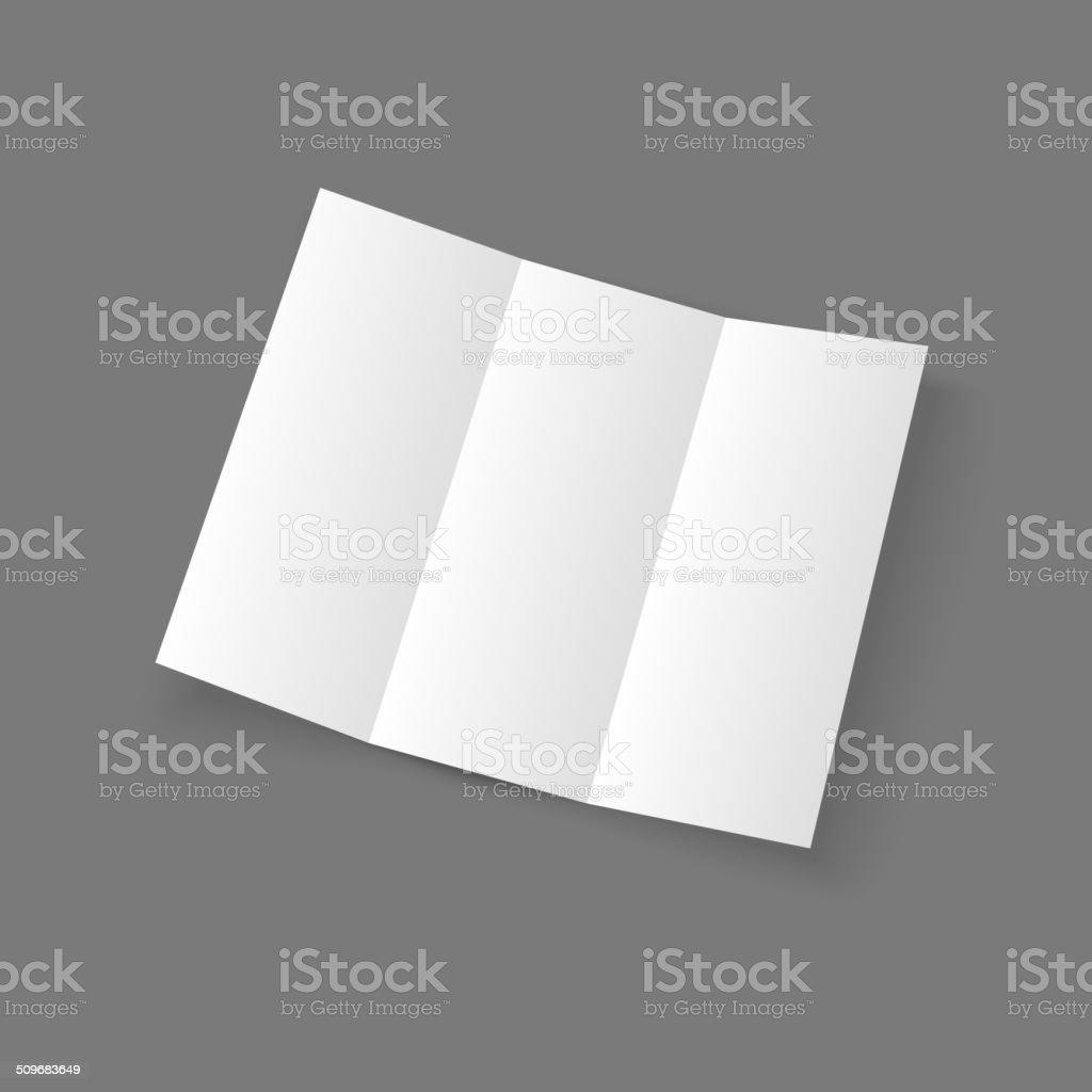 White open lying blank trifold paper brochure vector art illustration