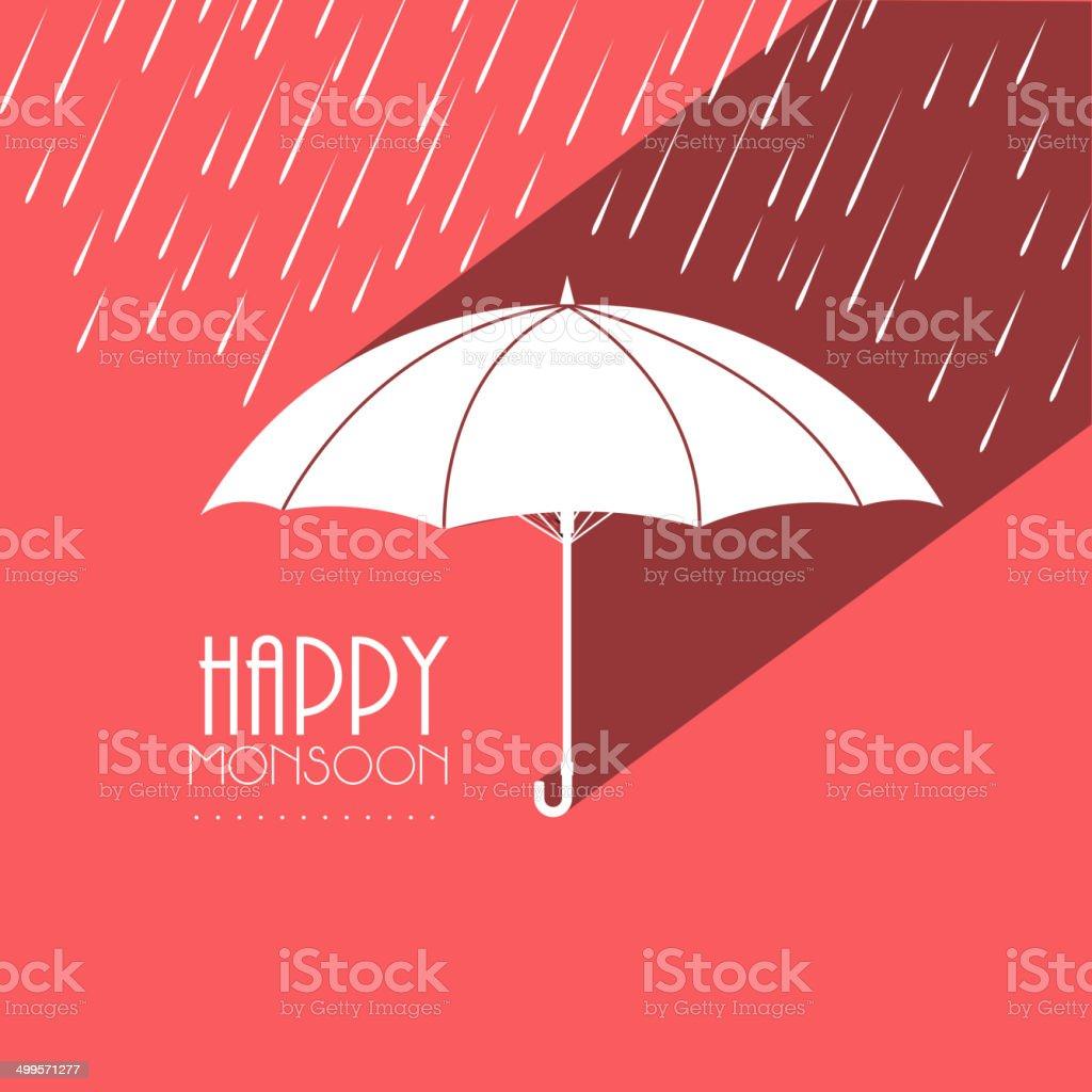 White open umbrella on creative pink background. vector art illustration