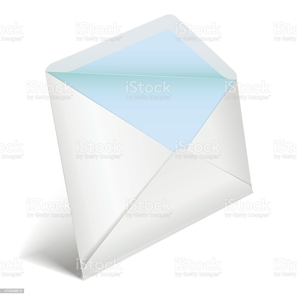 White opened envelope in perspective royalty-free stock vector art