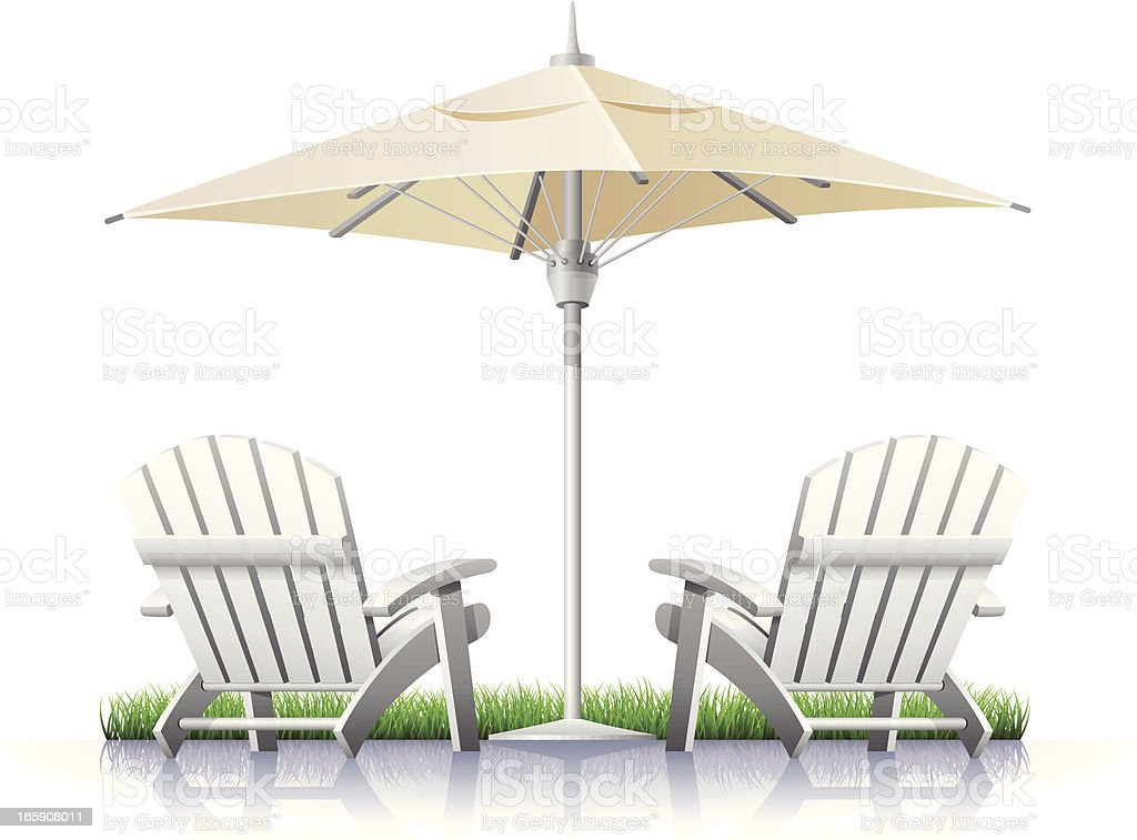 White Outdoor Chairs and Parasol royalty-free stock vector art