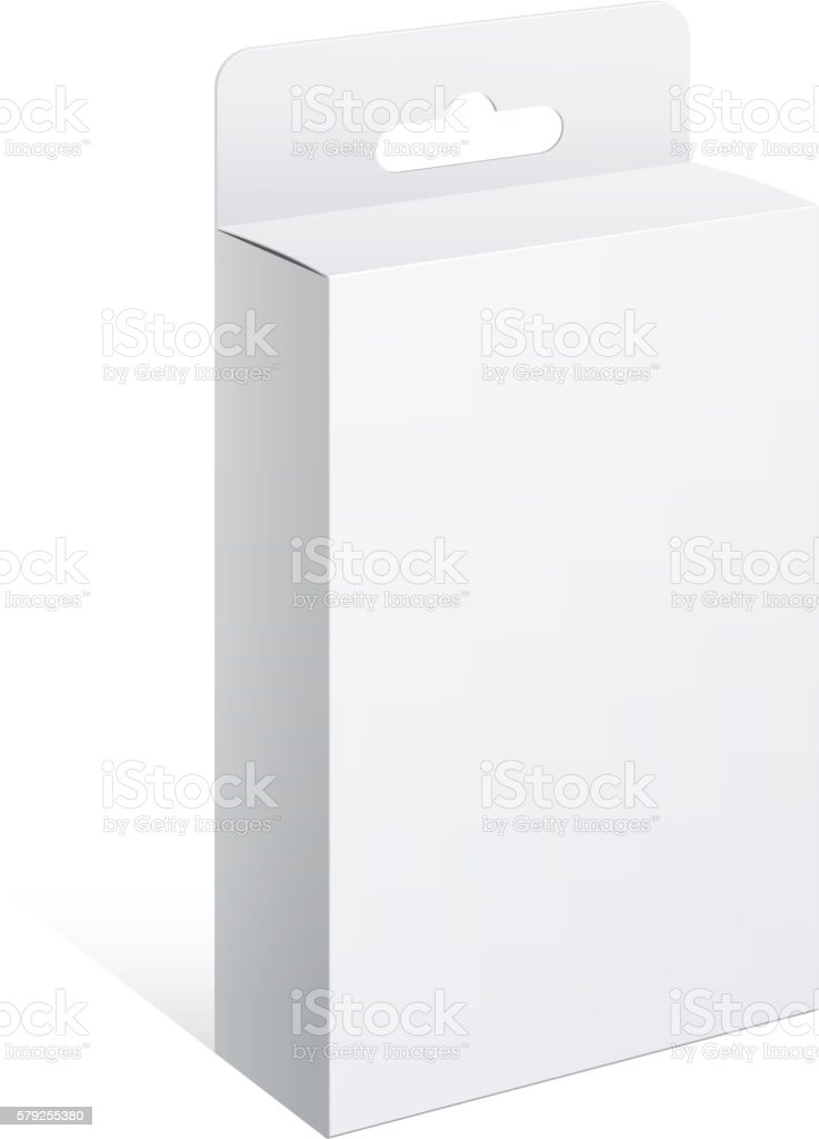 White Package Box. For Software, electronic device vector art illustration