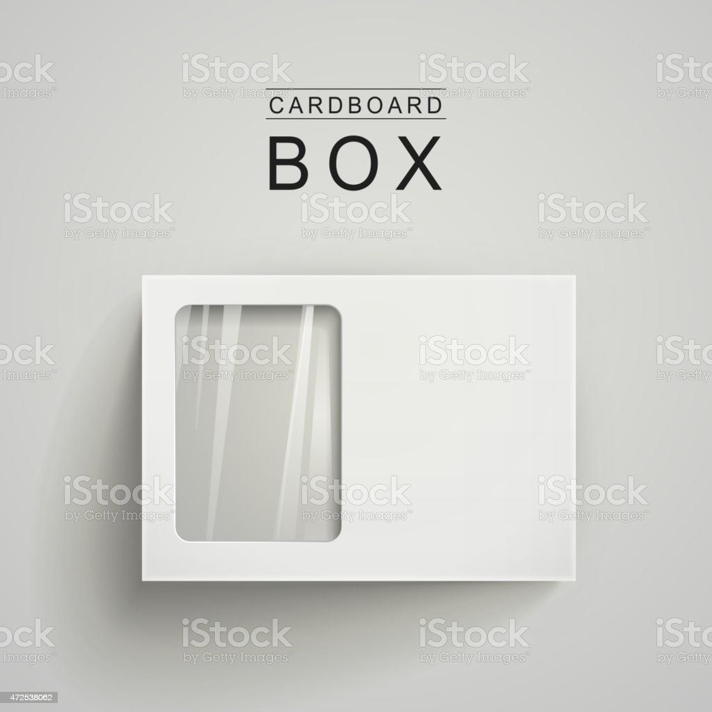 white package box with a transparent plastic window vector art illustration