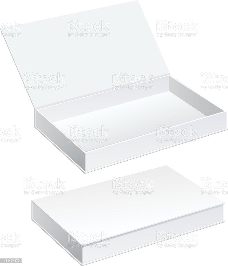 White Package Cardboard Box set vector art illustration