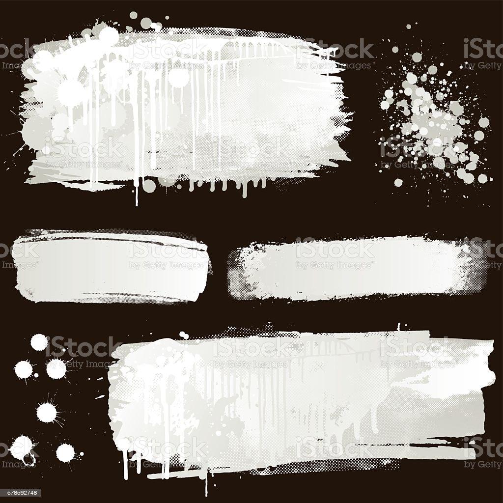 White paint splatter on black background vector art illustration