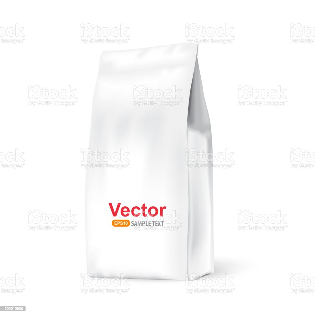 White paper bag for bulk products, tea, coffee vector art illustration
