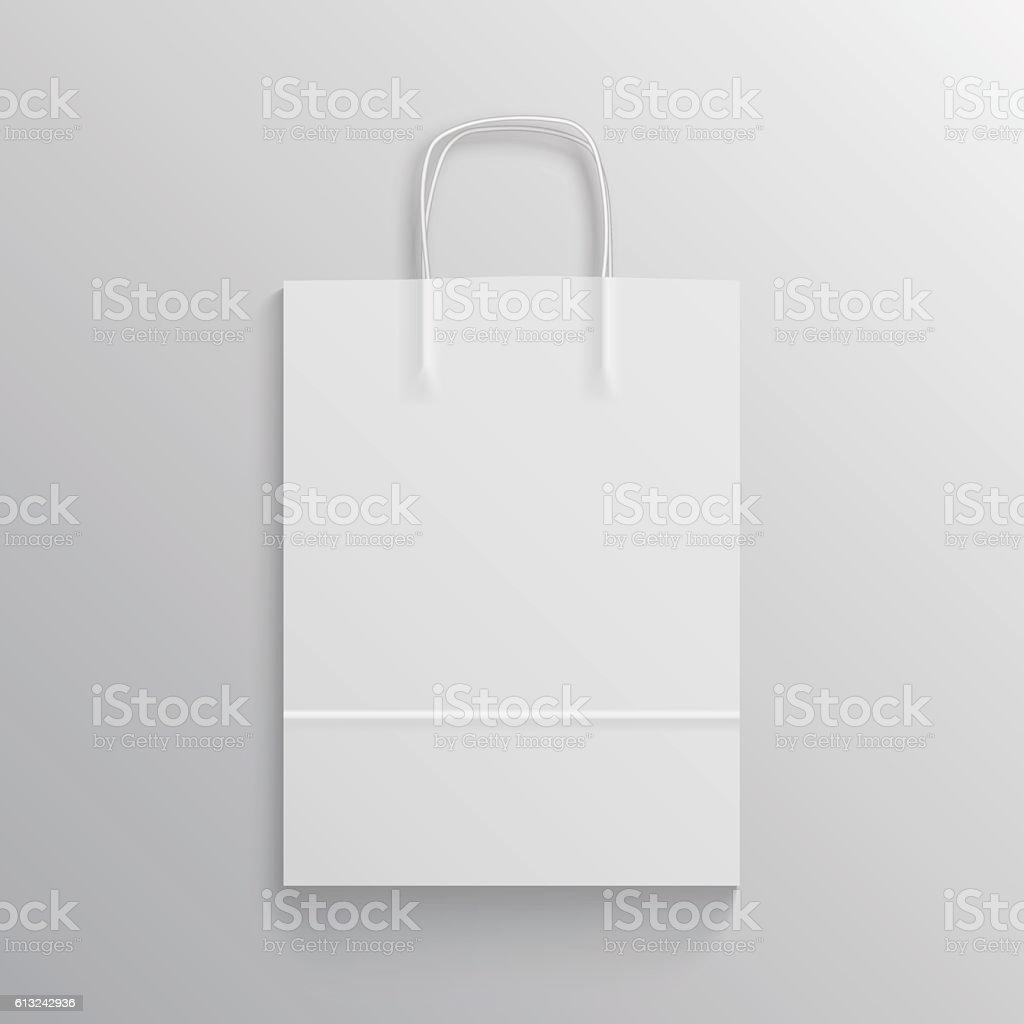 White paper bag mockup vector art illustration