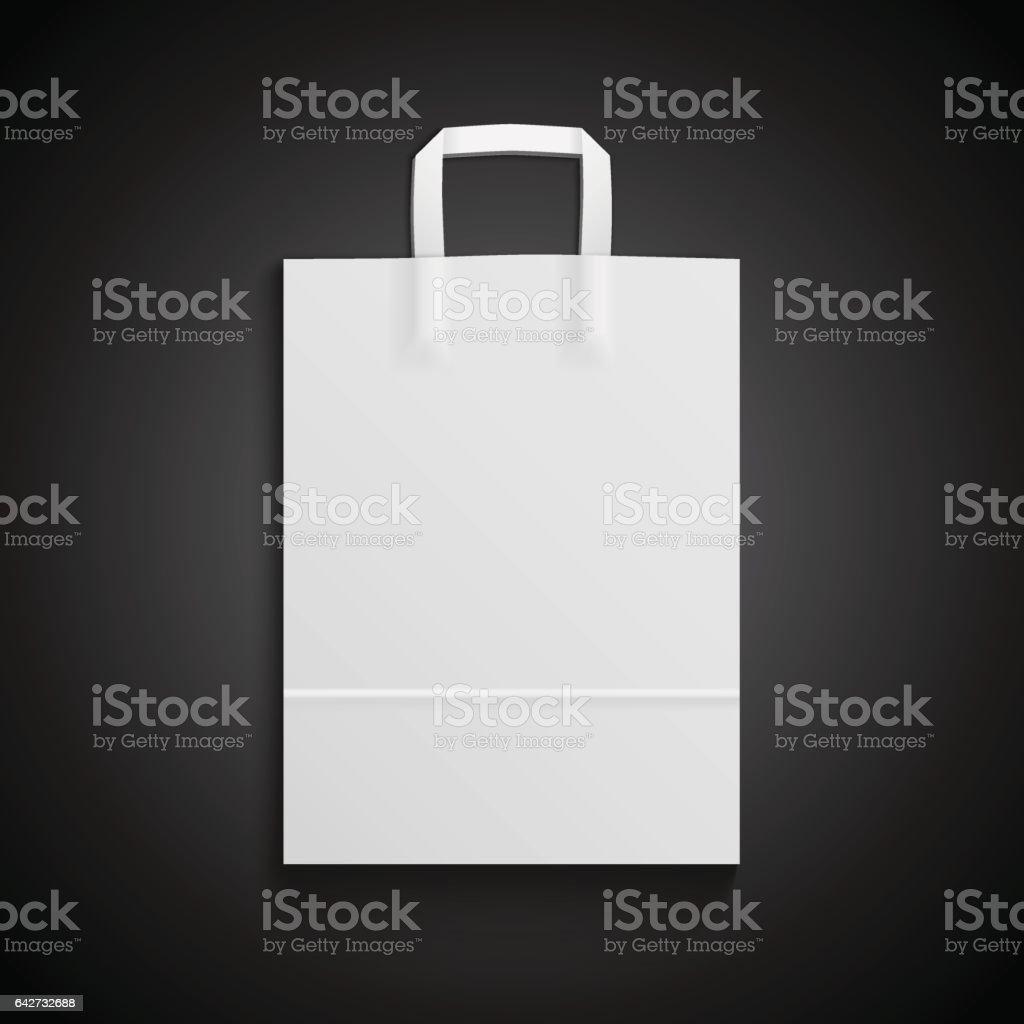 White paper bag mockup with handles for branding on black background vector art illustration
