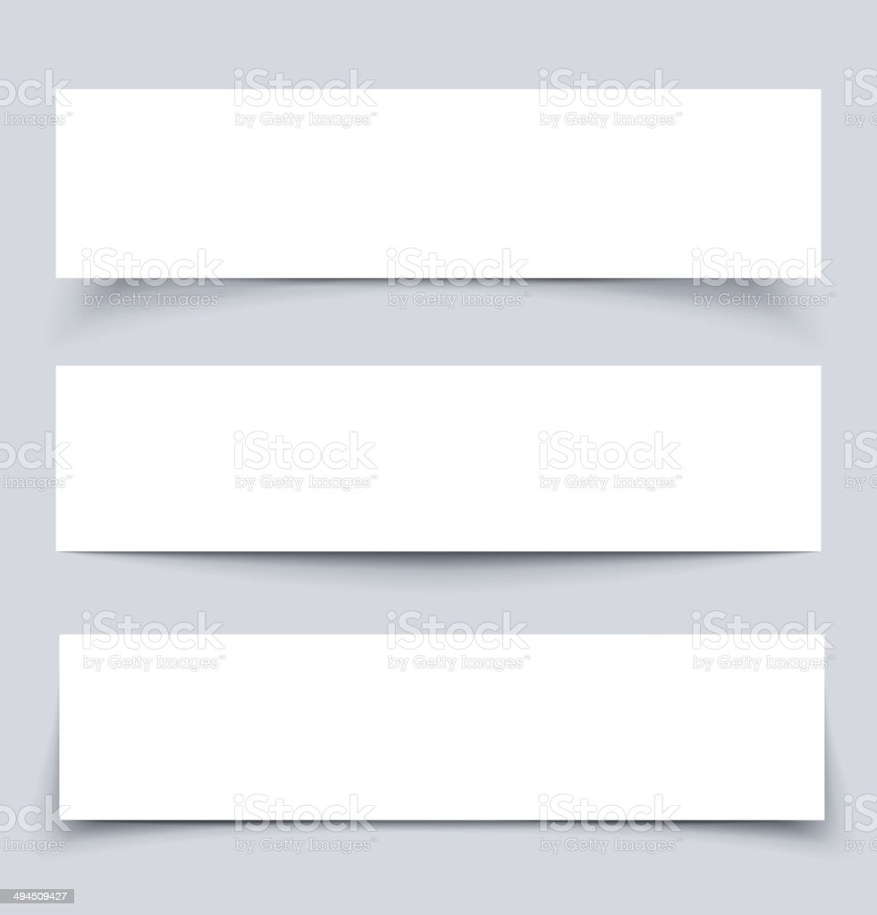 White paper banners with shadows vector art illustration