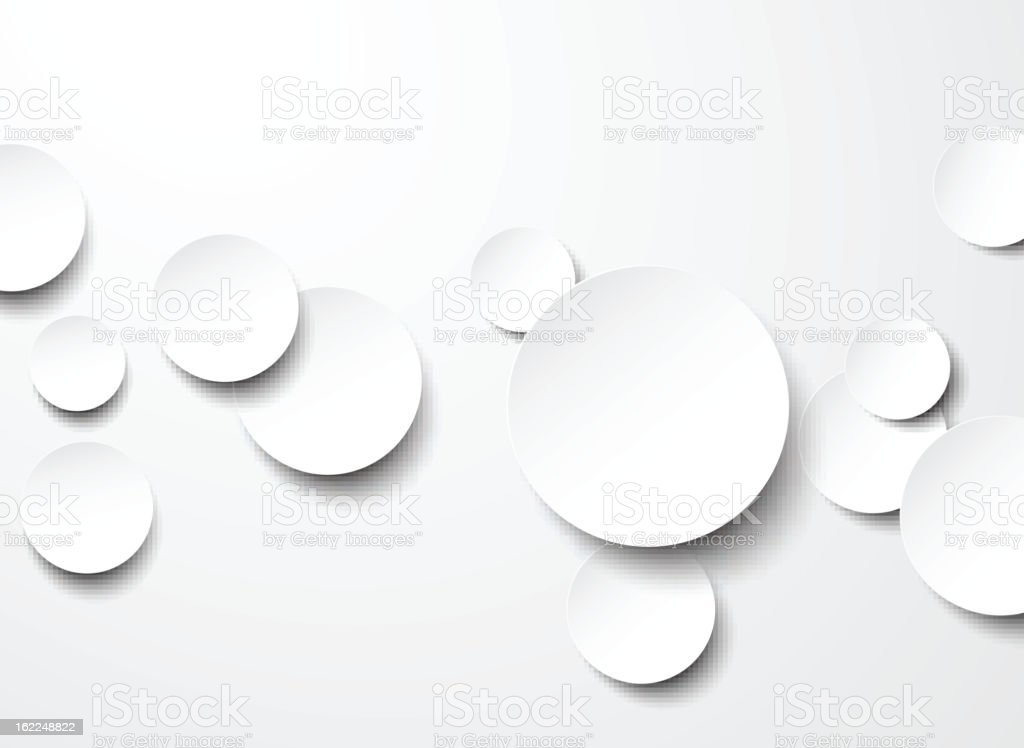White paper circles on a white background royalty-free stock vector art