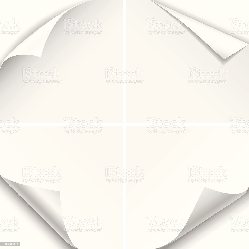 White Paper Corner Folds vector art illustration