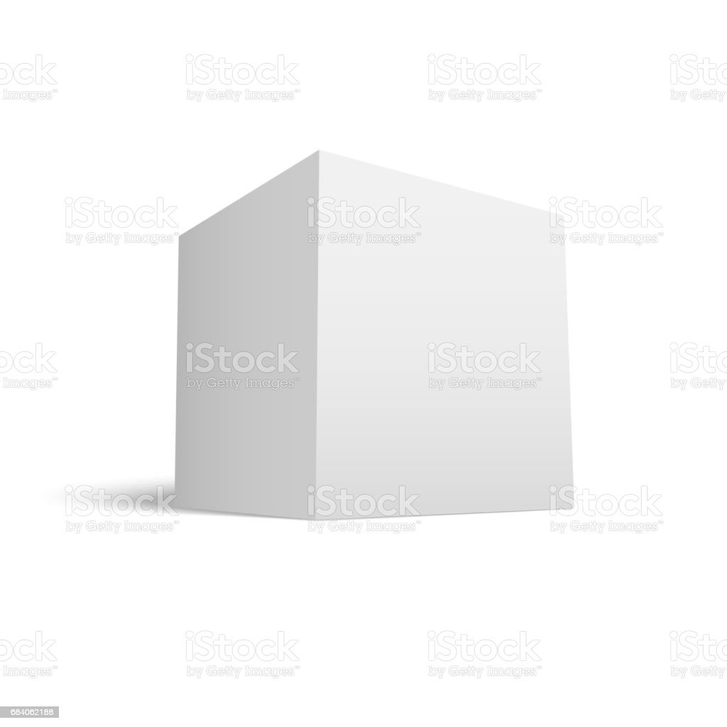 White Paper Cube with Shadow vector art illustration