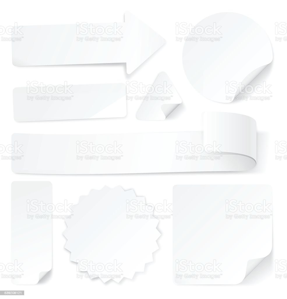 White Paper Labels Stamps and Stickers vector art illustration