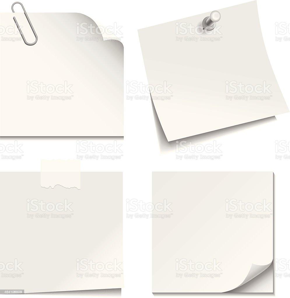 White Paper Notes vector art illustration
