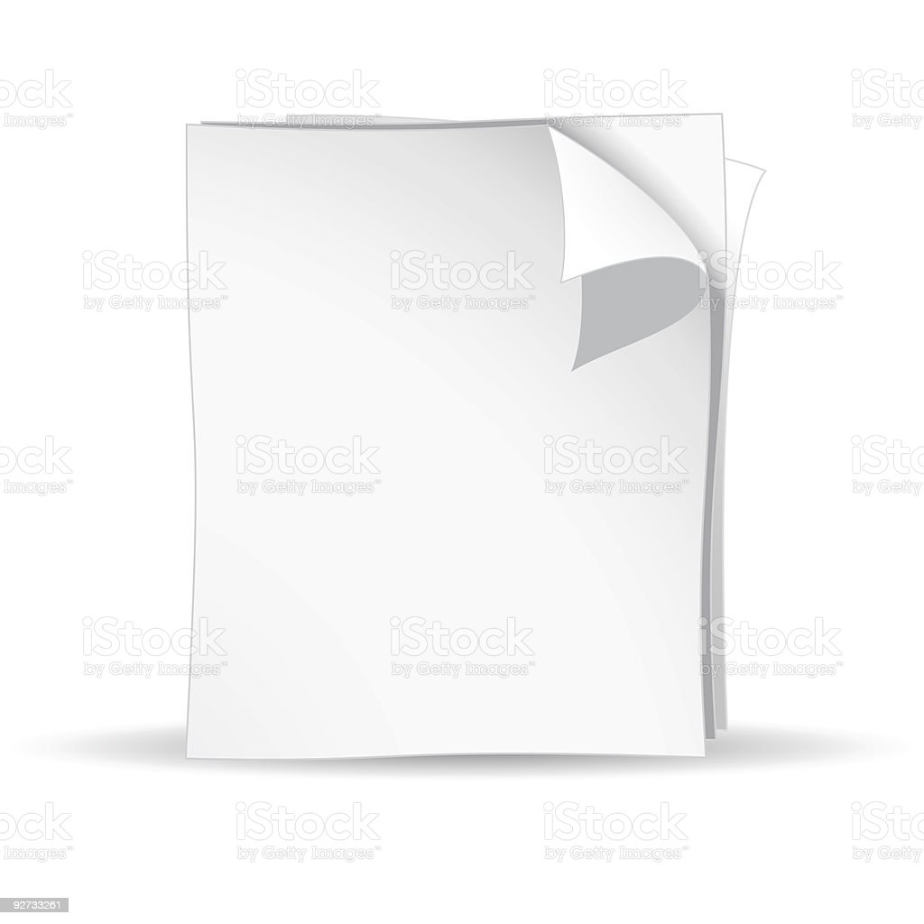 White paper on a white background royalty-free stock vector art