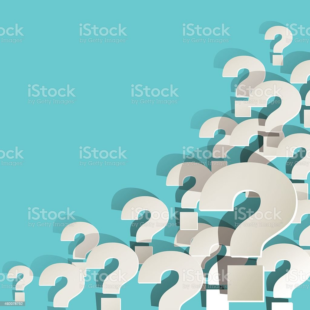 White paper question marks in the corner on turquoise background. vector art illustration