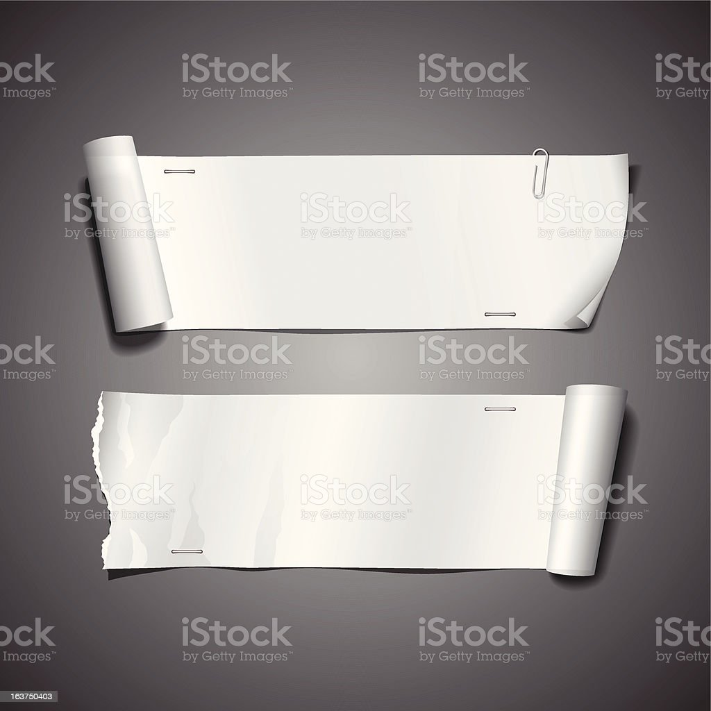 White paper roll ripped royalty-free stock vector art