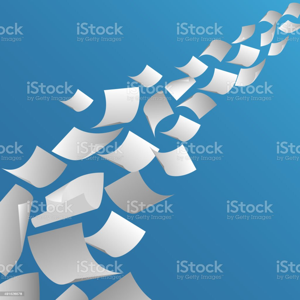 White paper sheets flying in the air vector art illustration