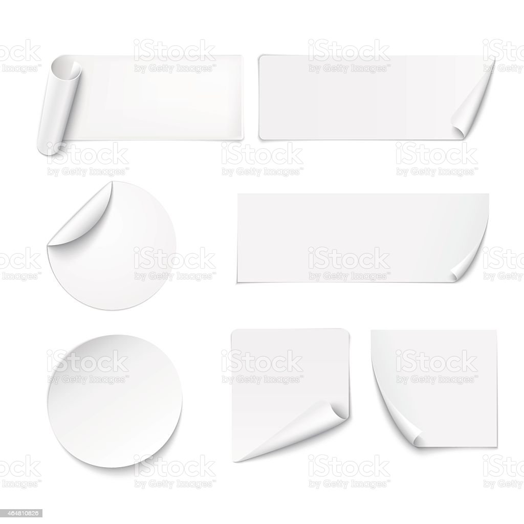 White paper stickers peeling at edges on white background vector art illustration