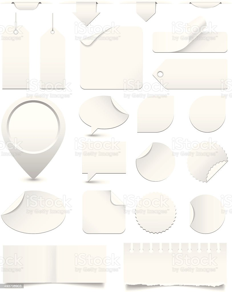 White Paper Tags and Stickers Set vector art illustration