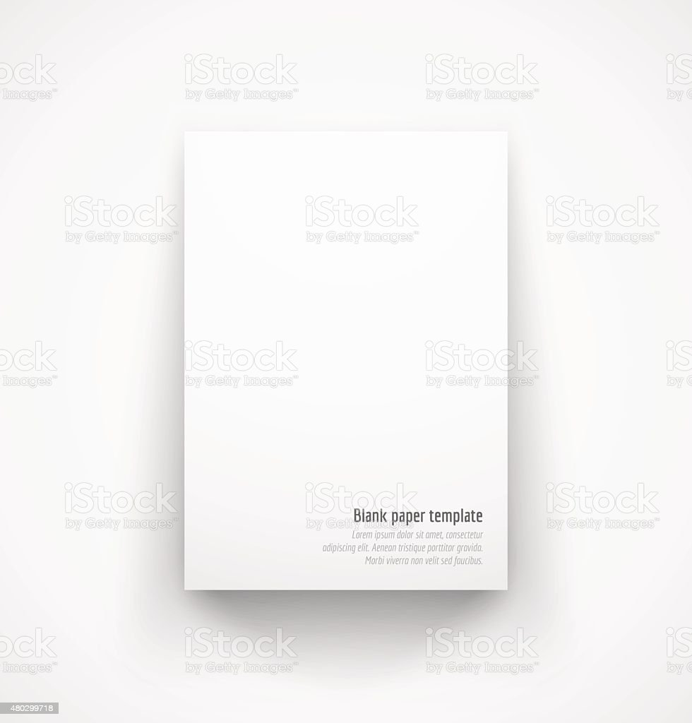 White paper template mock-up with drop shadow vector art illustration