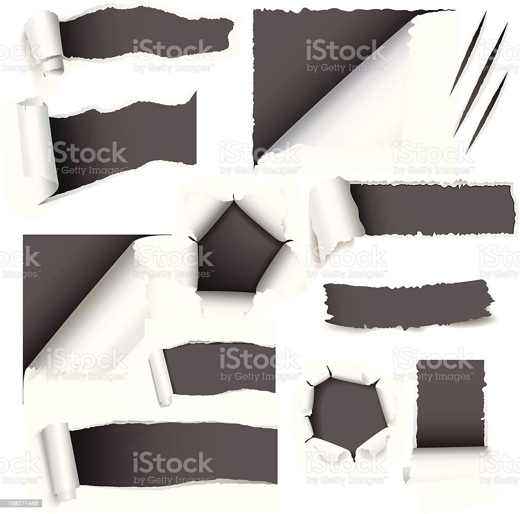White paper torn in various places vector art illustration
