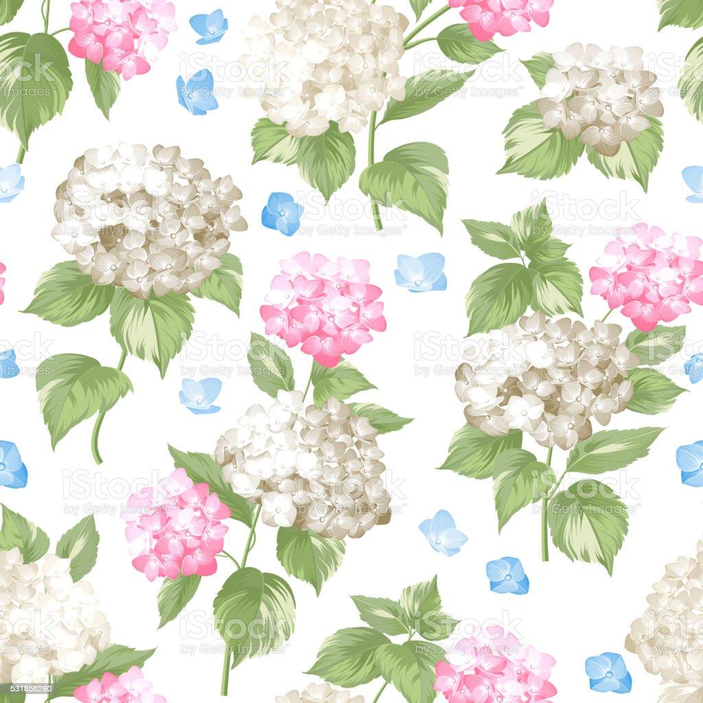 White pattern of summer flowers vector art illustration