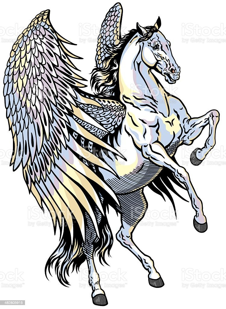white pegasus royalty-free stock vector art