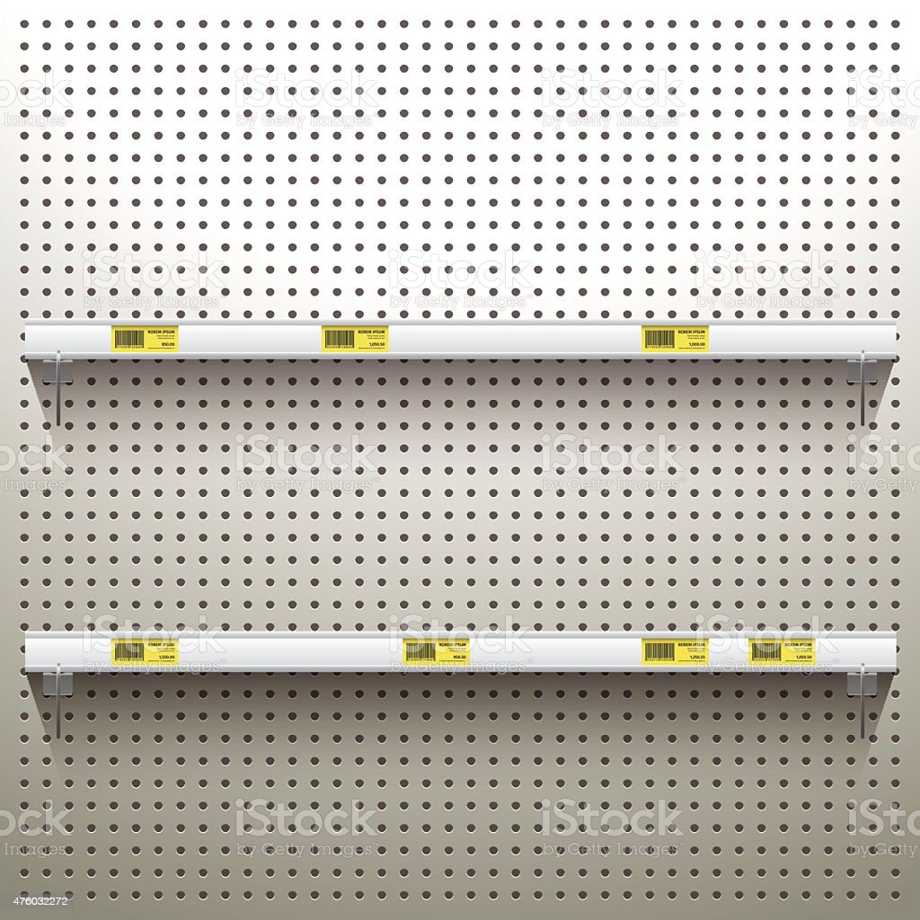 White Pegboard Background with shelves and price tags vector art illustration