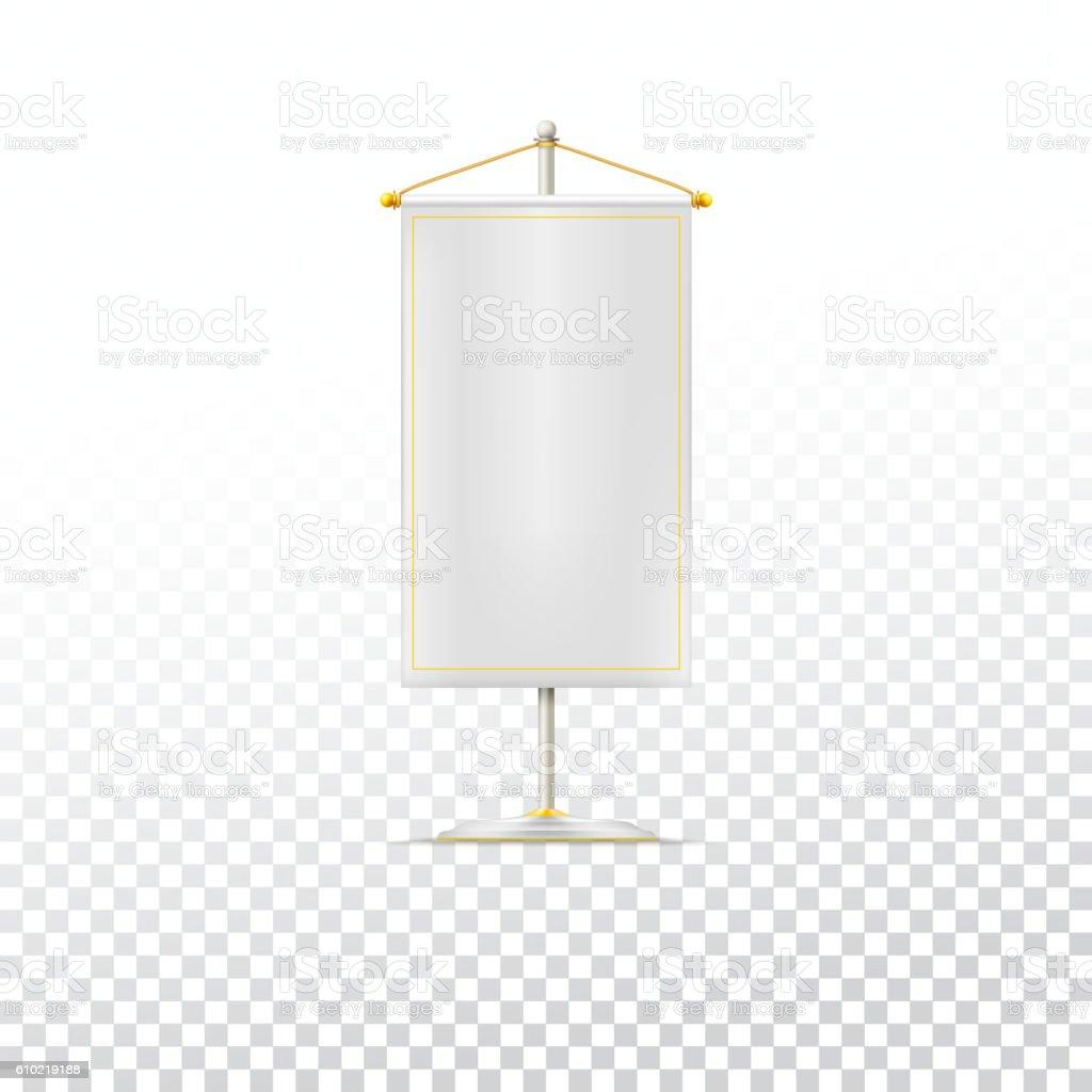 White pennant or flag vector art illustration