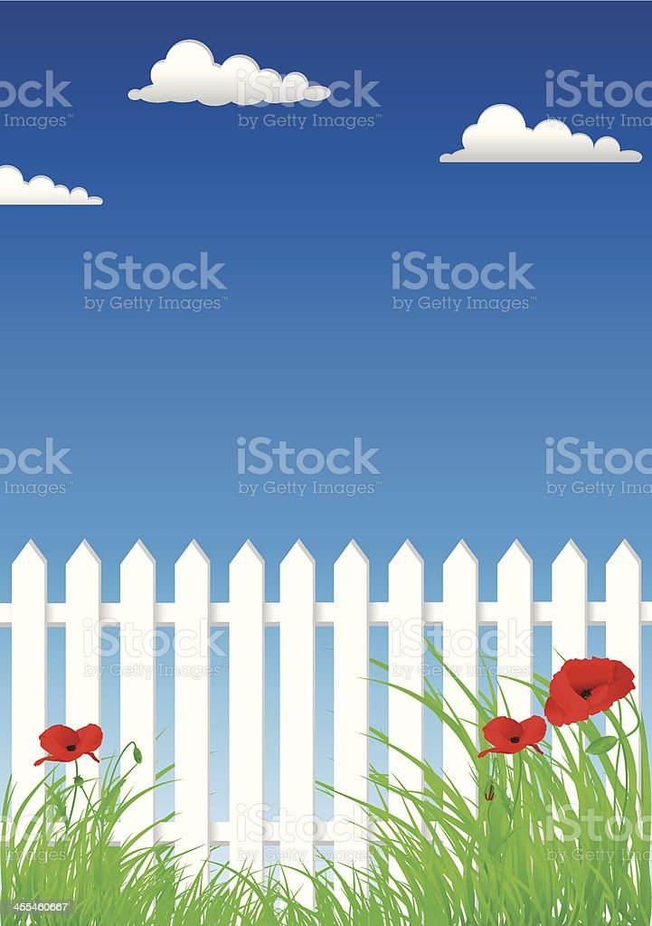 White Picket Fence And Poppies On The Sky Background vector art illustration