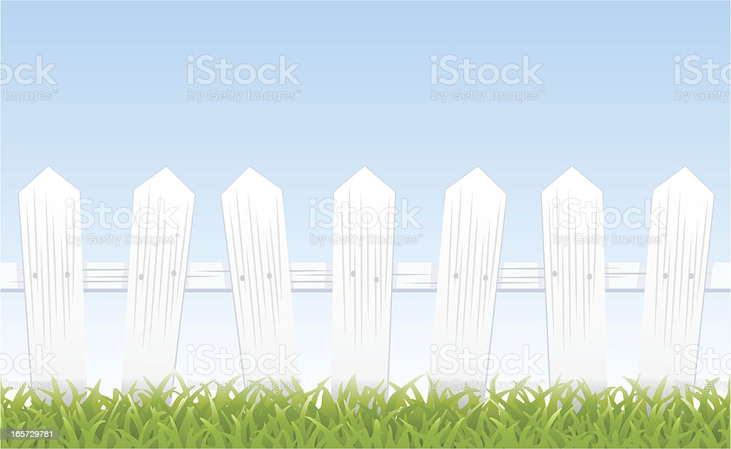 White picket fence, grass, and sky (tiles seamlessly) vector art illustration