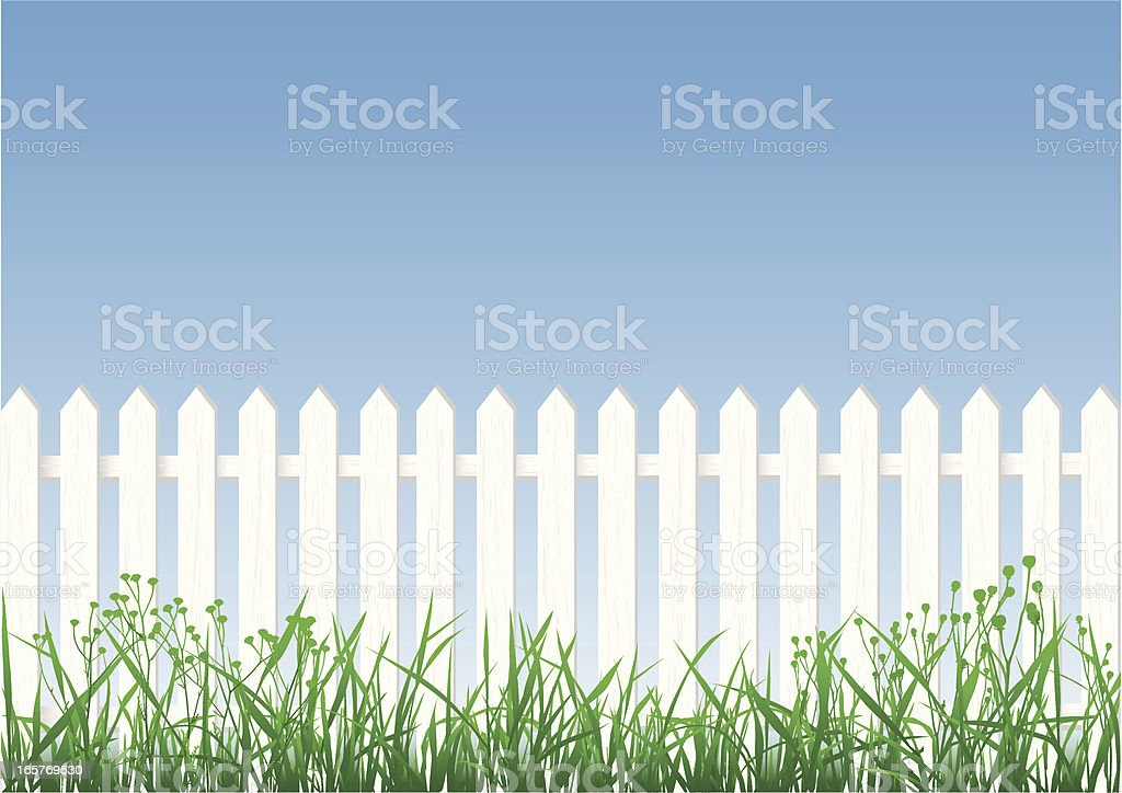 White Picket Fence, Grass And Sky vector art illustration