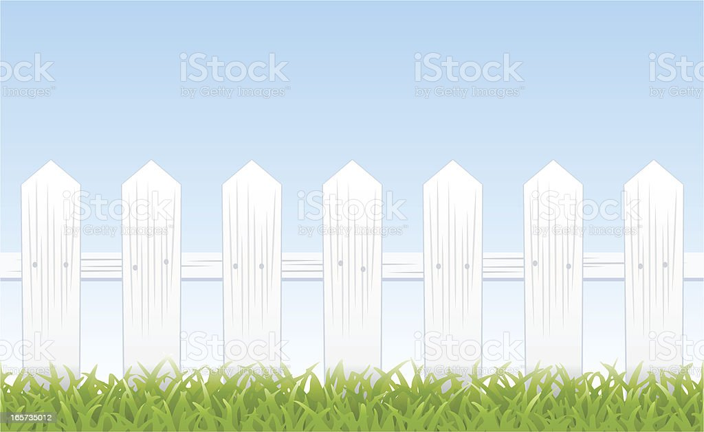 White picket fence (tiles seamlessly) vector art illustration