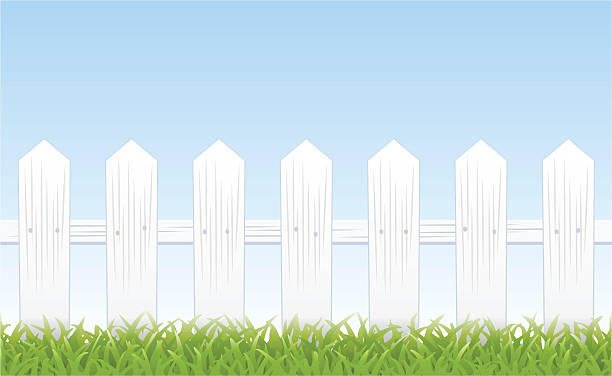 White Fence Clip Art, Vector Images & Illustrations - iStock