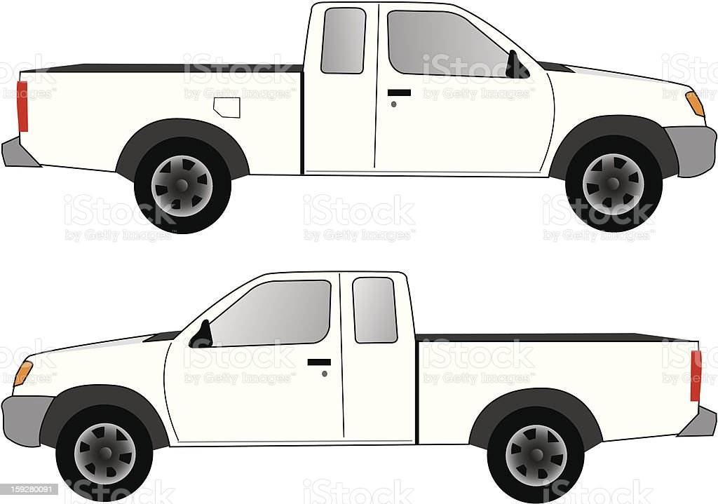 White Pickup Truck vector art illustration