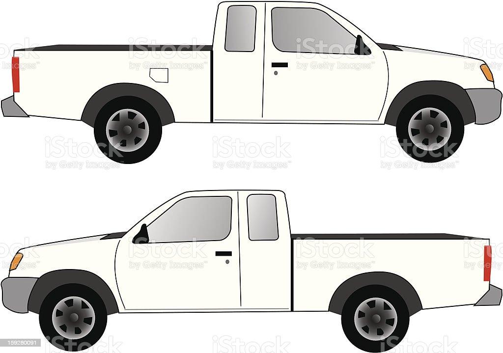 White Pickup Truck vector art illustration