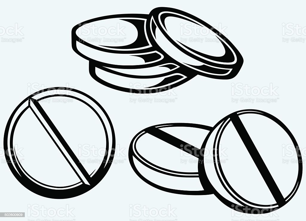 White pills royalty-free stock vector art