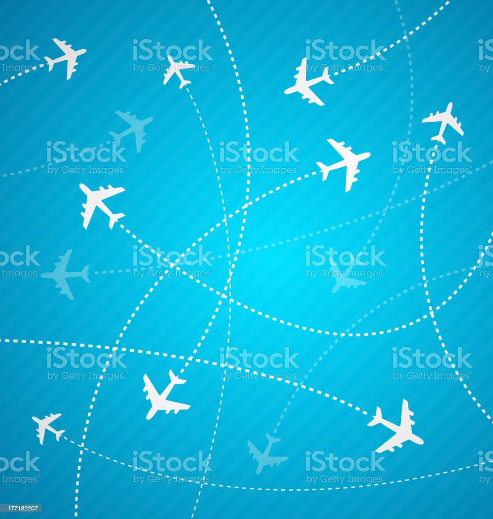 White planes with dotted flight paths on blue background royalty-free stock vector art