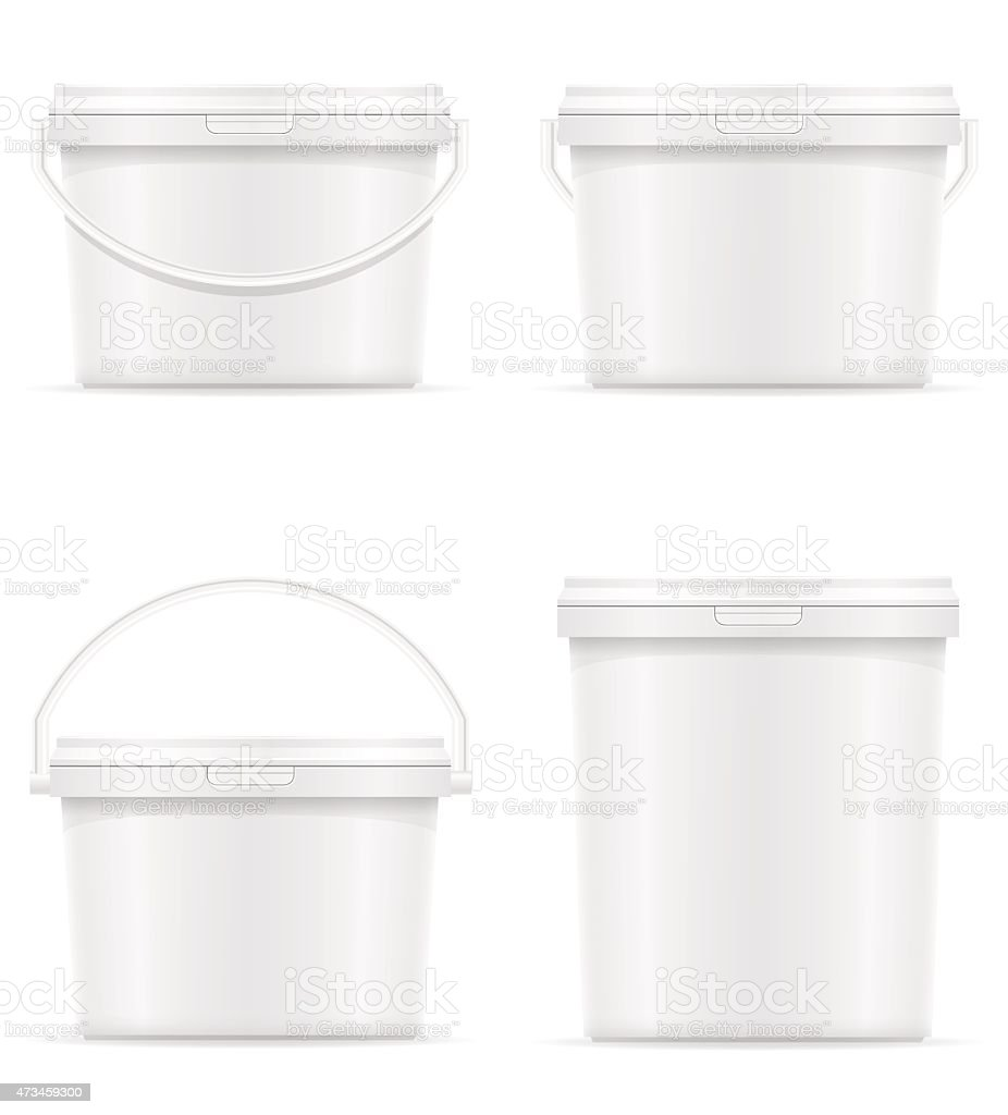 white plastic bucket for paint vector illustration vector art illustration